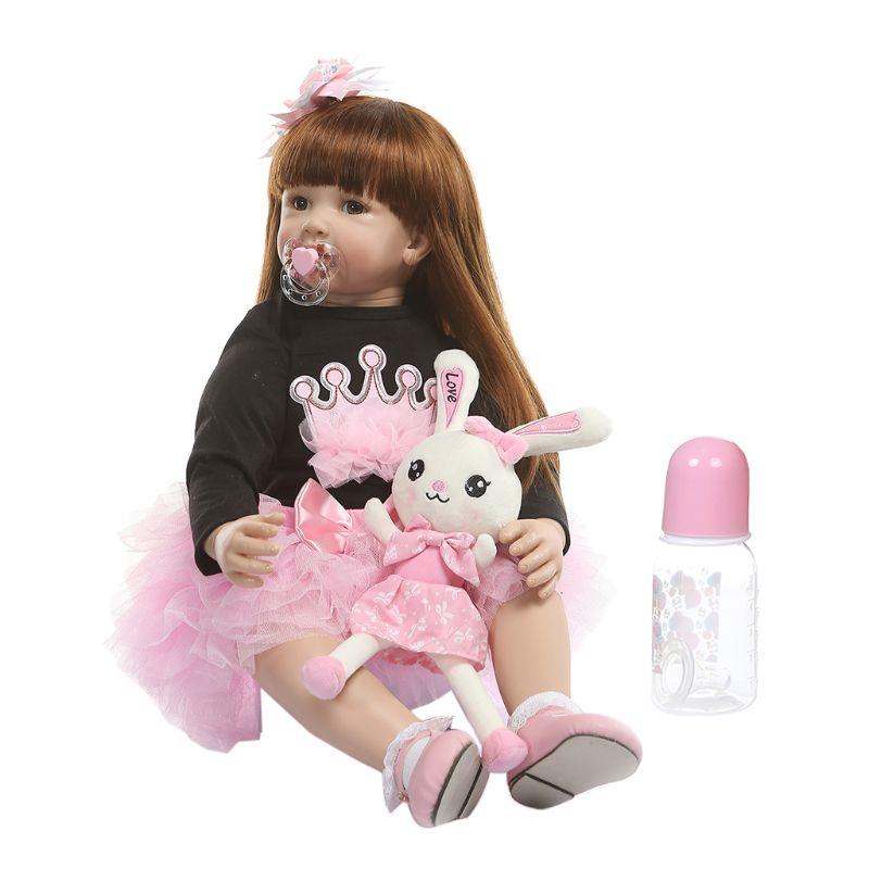60cm Reborn Doll Realistic Silicone Vinyl Newborn Babies Toy Long Hair Girl Princess Clothes Pacifier Lifelike Handmade Gifts60cm Reborn Doll Realistic Silicone Vinyl Newborn Babies Toy Long Hair Girl Princess Clothes Pacifier Lifelike Handmade Gifts