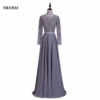 SHAMAI Appliqued Long Sleeves Evening Dresses Chiffon Straight Formal Dress 2019 O Neck line Party Designs Prom Gowns