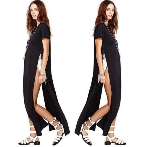 cb41addf20d Ladies Sexy Casual Side High Slits Tee Long Top Maxi Dress T shirt Tops  Blouse-in Dresses from Women s Clothing on Aliexpress.com