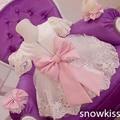 Новый Элегантный Белый Кружевной цветок девочки платья с Розовым Бантом Короткие Рукава детские День Рождения Платье случаю свадьбы бальные платья