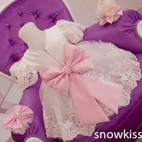 New Elegant White Lace Flower Girl Dresses With Pink Bow Short Sleeves Baby Birthday Party Dress