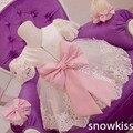 Nueva Elegante Blanco de Encaje vestidos de niña con Lazo Rosa de Manga Corta del bebé Fiesta de Cumpleaños Vestido de boda vestidos de bola