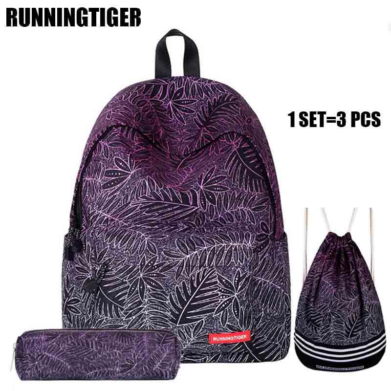 RUNNINGTIGER 3pcs Set Grls School Bags Women Printing Backpack For Teenager Girls Bag Pack Shoulder Drawstring Bags 2017 WM509Z