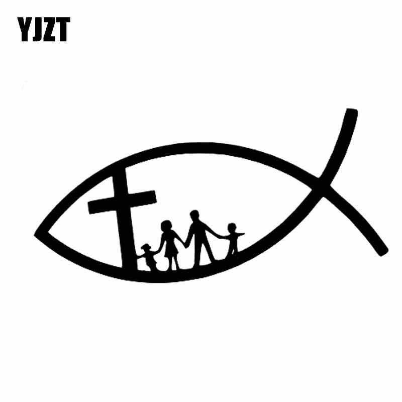 Yjzt 14cm * 6.8cm engraçado peixe cristão jesus família cruz igreja vinil adesivo do carro decalques preto prata C11-0147