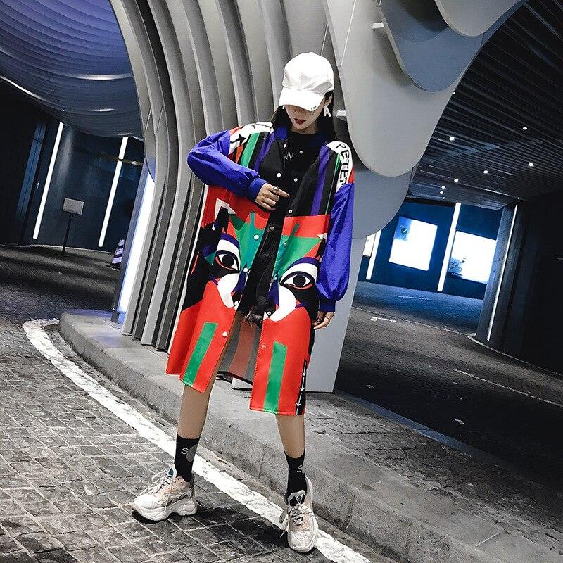 Coupe Nouveau Mince Veste 2018 Long D'hiver Marque Grande Taille Femme Hip Animé Hop Photo Automne Dessin Marée Impression Lâche Color Et Thaïlande vent OXZuPkTi