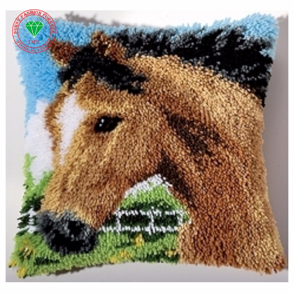 Horse Picture Needlework Diy Pillowcase Embroidery Handmade Carpet Sets Embroidery Stitch Thread Stitch Threads For Embroidery