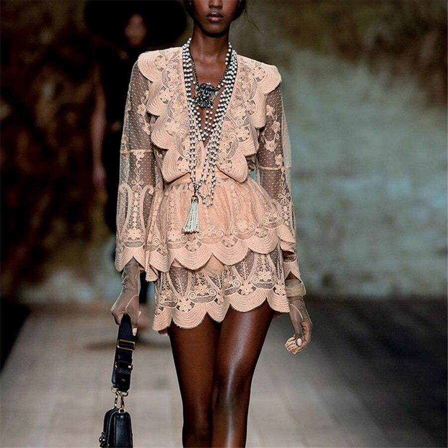 2018 New Runway Designer Flare Sleeve Fashion Sexy Deep V-neck Mini-dress Pink Luxury Brand Fall/autumn Lace Ruffled Dress White