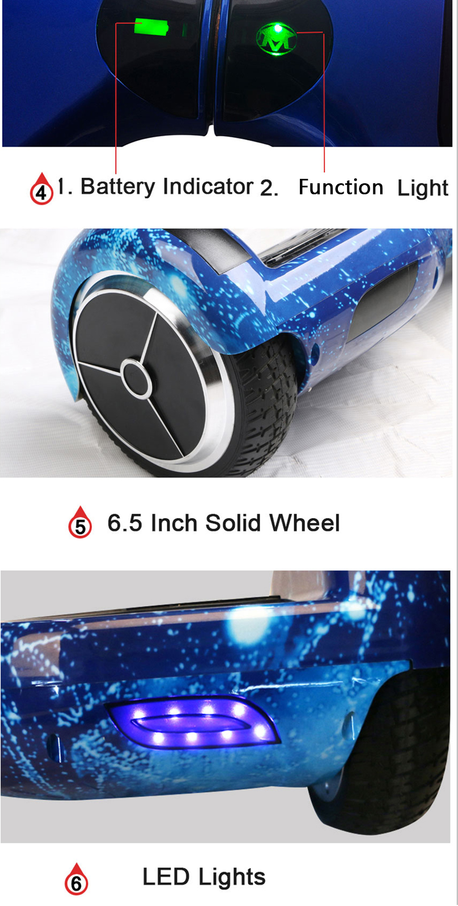 6.5 Inch Self Balancing Hoverboard with Bluetooth and Speaker 12