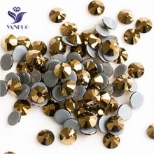 YANRUO 2058HF SS20 Aurum 1440Pcs Flat Back Strass DIY Hotfix Crystal Glass Rhinestones For Garment Accessories
