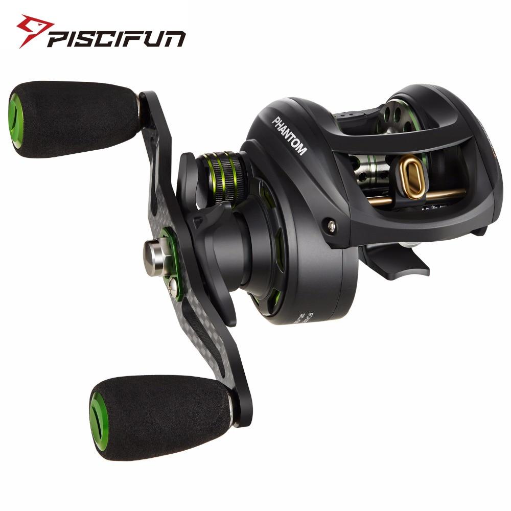 Piscifun Phantom Fishing Reel Carbon Fiber Ultralight 162g Dual Brake 7.7kg Max Drag 7.0:1 Gear Ratio Lake Baitcasting Reel