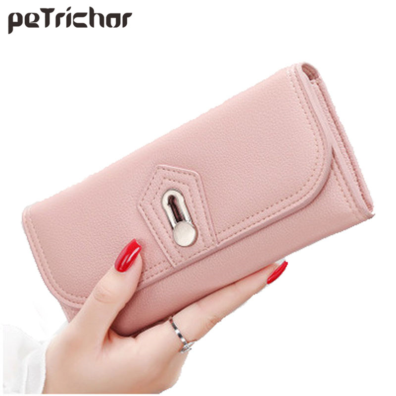 2017 New Design Women Clutch Wallet Solid Hasp Multifunctional Purse PU Leather Carteira Feminina For Coin