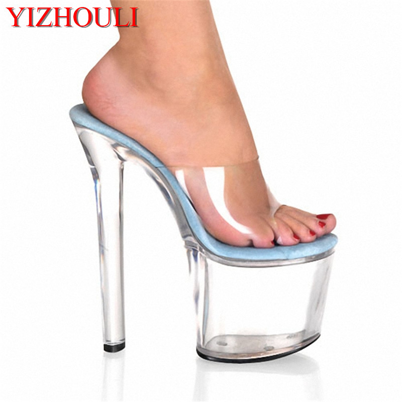 Sexy 8 Inch Transparent Crystal Jelly Shoes Heels Women Summer Sandals Fashion High Heel Slippers Sexy Clubbing High Heels