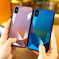 NTSPACE Diamond Mirror Glass Cases For iPhone XS Max XR Tempered Glass Soft Silicone Cover For iPhone 7 8 6 6S Plus Glitter Case