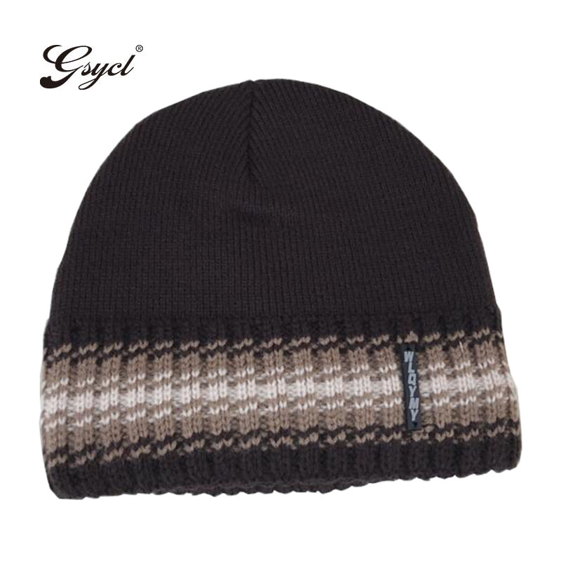 [Gsycl] 2017 New Winter Men Thicker Knitting Cashmere Cap Outdoor Thermal Hat for Men 5 Colors Black Wine Red Grey Coffee Navy the new children s cubs hat qiu dong with cartoon animals knitting wool cap and pile
