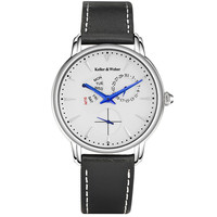 Top Brand KW Men Women Auto Date Quartz Watch Genuine Leather Band Seconds Dial Week Display Water Resistant for Gift