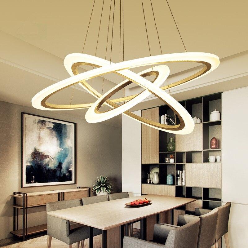 US $43.96 31% OFF|LED Ring Anhänger Lampen Küche esszimmer Bar ausgesetzt  leuchte Weiß Innen Haus Acryl lampe shades kronleuchter leuchten-in ...