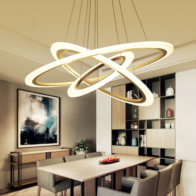 Modern led living dining room pendant lights suspension luminaire suspendu led ring lighting - Luminaire salon moderne ...
