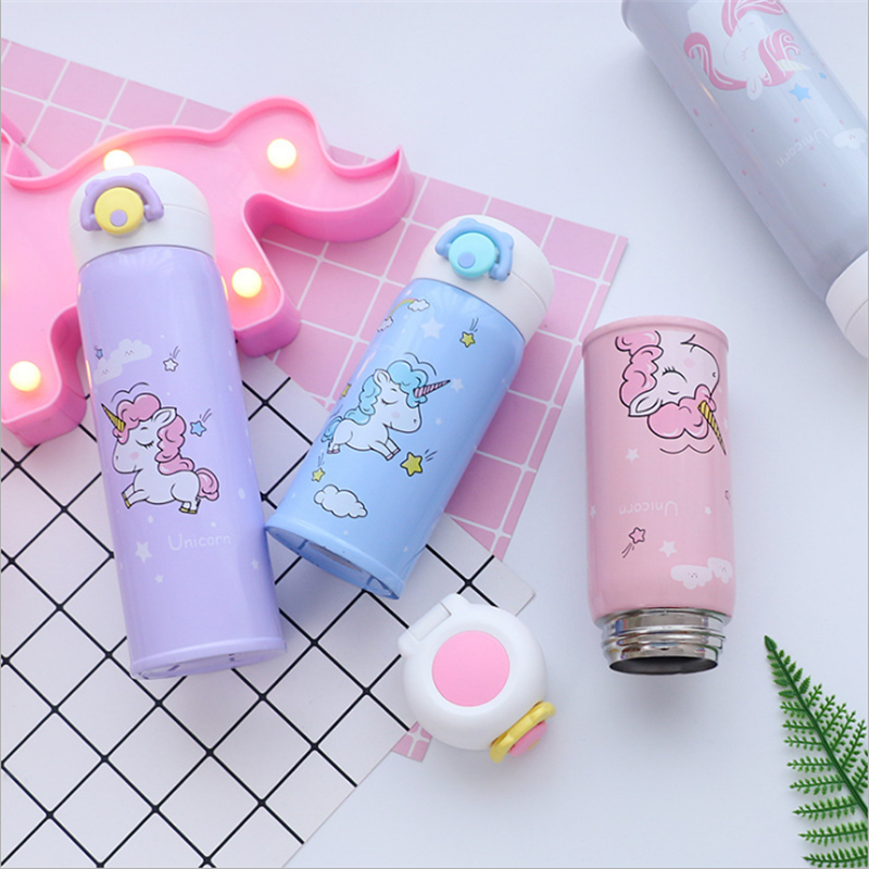 350ml and 500ml Thermal Flask and Unicorn Mug with Strainer for Warm Milk and Water 2