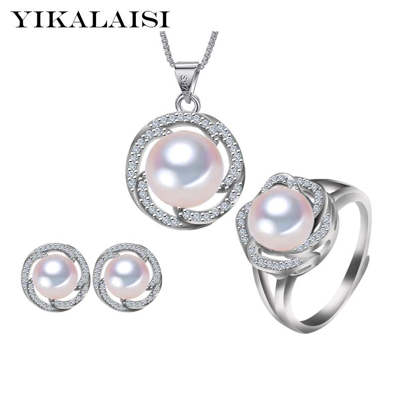 YIKALAISI 2017 natural freshwater pearl Pendant Necklace/Earrings jewelry set for women 925 sterling silver jewelry wedding yikalaisi 2017 natural freshwater pearl necklace sets pendant drop earrings 925 sterling silver jewelry for women best gifts