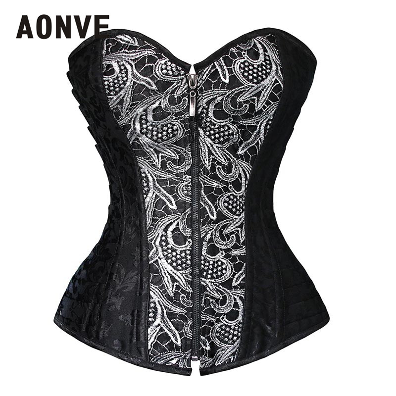 AONVE Elegant Tight Lacing Corsetto Women Gothic Clothing Black Plus Size Bayan Korse Brown Embroidery   Bustier   Overbust   Corset