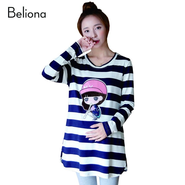 New Autumn Stripe Cartoon Maternity Tops T shirts Long-sleeved Casual T-shirts for Pregnant Women Plus Size Pregnancy Clothes