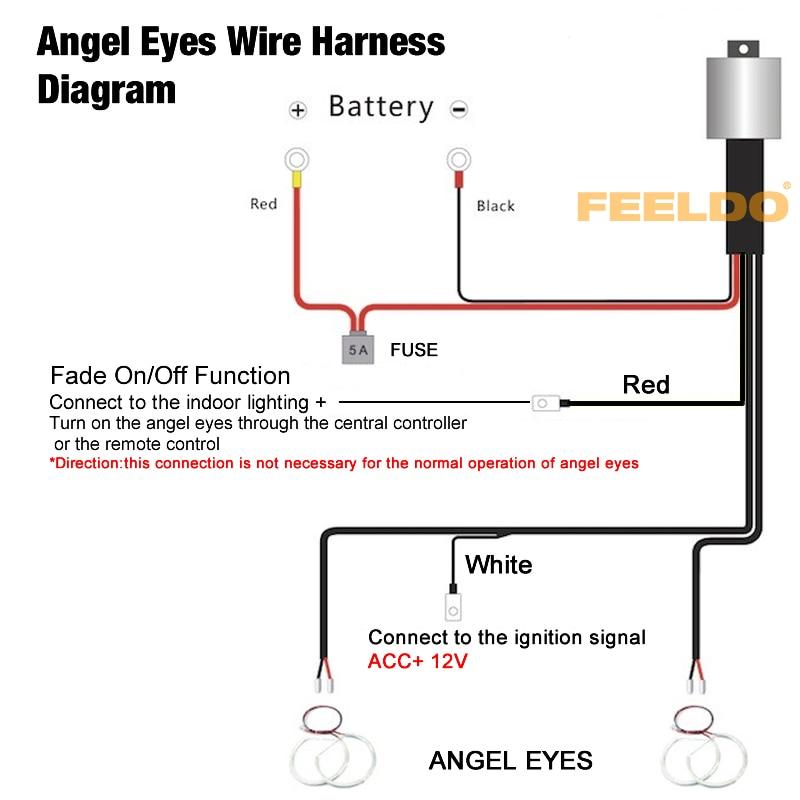 FEELDO 4Pcs Relay wiring harness kit for BMW CCFL/LED angel eyes