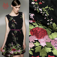 Pastoral black with green red floral embroidery cotton silk fabric for dress heavyweight embroidery silk tissu tecidos SP4746