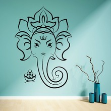 HINDU GOD GANESHA GANESH Vinilo adhesivo mural Home Decoration Elephant  Ganesh Wall Art Decal Lotus Yoga Sticker M-173