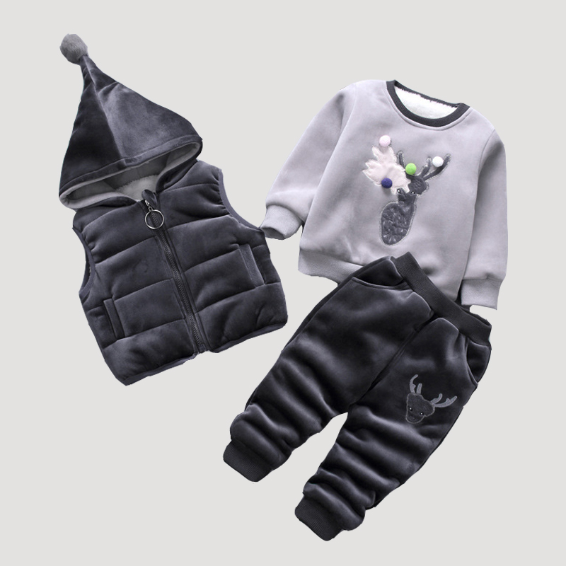2018 Newborn Baby Boy Clothing Set Infant Coat Girl Jacket Vest+Coat+Girls Pants Suits Children Hooded Long Sleeve Costumes Suit