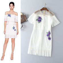 women's clothing white gauze round collar short sleeve + water soluble embroidered pressure plait dress