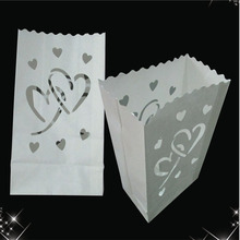 Free shipping 20pcs heart style Candle Paper Bag Luminaries Wedding Valentine's Day barbecue Decoration