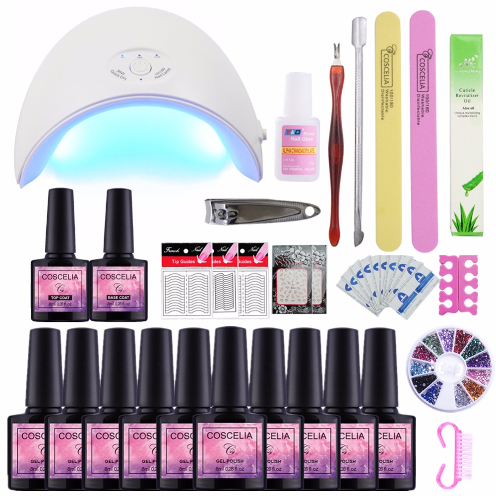 Manicure Set UV Lamp Nail Set & 10 Color UV Gel Nail Polish Tools Set Solid Extension gel Nail Art Kits for Manicure coscelia nail art tools for manicure 36w uv lamp for nail 10 color uv gel manicure set gel nail art set for gel nail polish