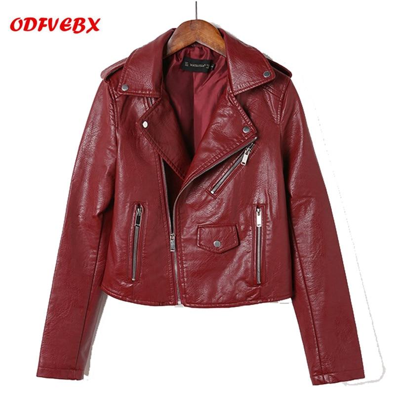 Autumn Slim washed   leather   jackets coat female 2019 new spring large size motorcycle PU short paragraph ladies jacket ODFVEBX