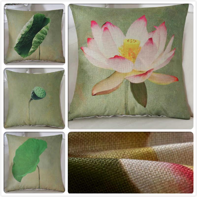 Liści lotosu roślin kwiat druk cyfrowy luksusowe powrót poszewka 18x18 cali 45*45 cm dekoracyjne rzuć poszewka na poduszkę przypadku poszewka