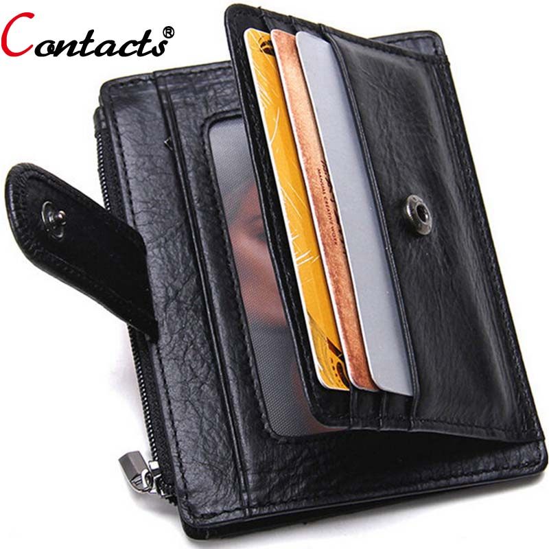CONTACT'S Genuine Leather Men Wallets Short Credit Card Holder Women Coin Purse Super Thin Card Wallet Dollar Price Black Unisex hot sale 2015 harrms famous brand men s leather wallet with credit card holder in dollar price and free shipping