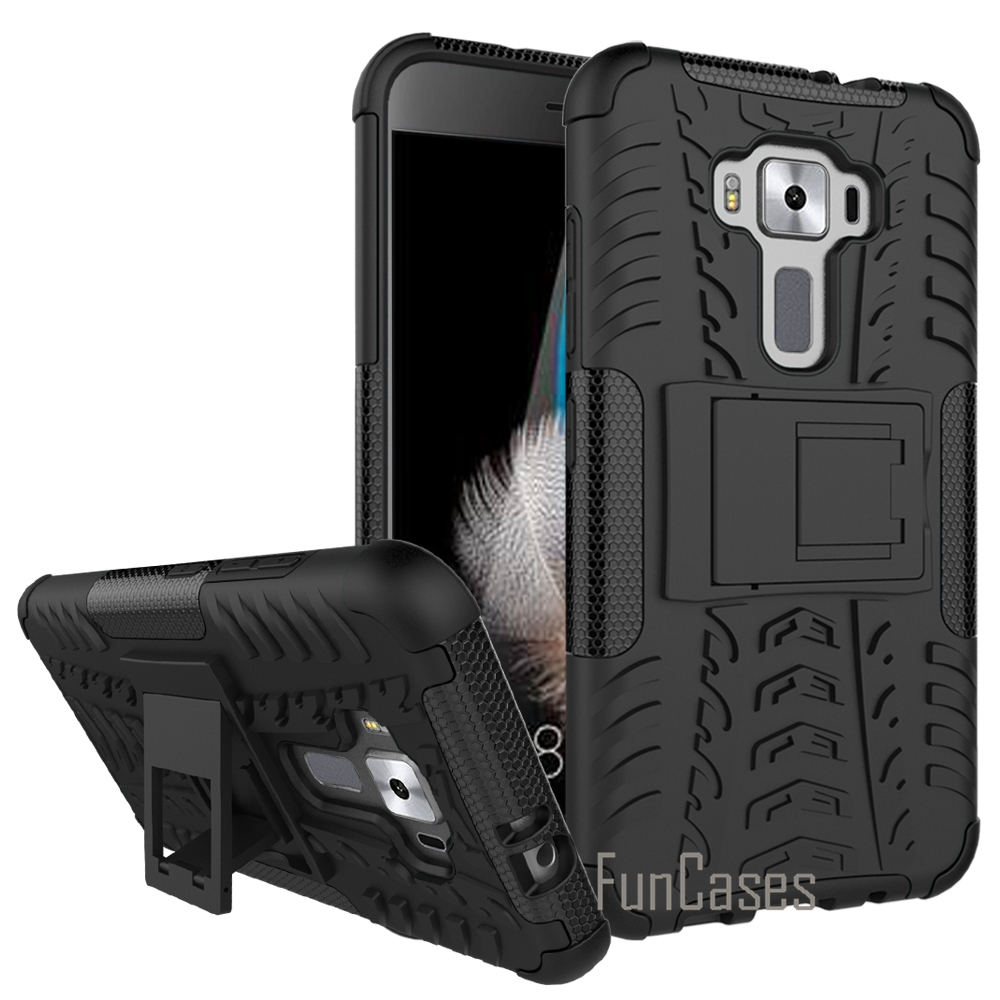For Asus Zenfone 3 Ze520kl 52 Silicone Pc Dual Layer Rugged 2 Laser Ze601kl Smartphone 32gb Free Zen Flash Combo Armor Shield 3d Case Ze 520 Kl Kickstand Cover