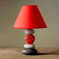 Modern Nordic Simple Red Ceramic Table Lamp Ceramic Lamp Holder Fabric Lampshade Creative Deco Desk Lamp