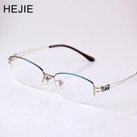 HEJIE New Fashion New Women Pure Titanium Optical Eyeglasses Frames Half Rim Myopia Glasses Frame For Female Size 54 18 138 9045