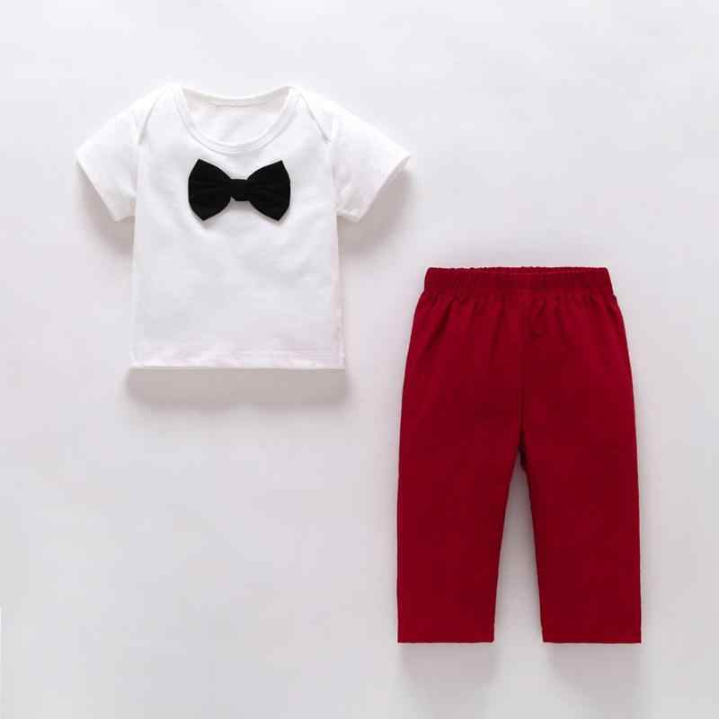 Toddler 2pcs//set Bowknot Decor Boys Kid Summer O-neck Solid Tops+Casual Trousers