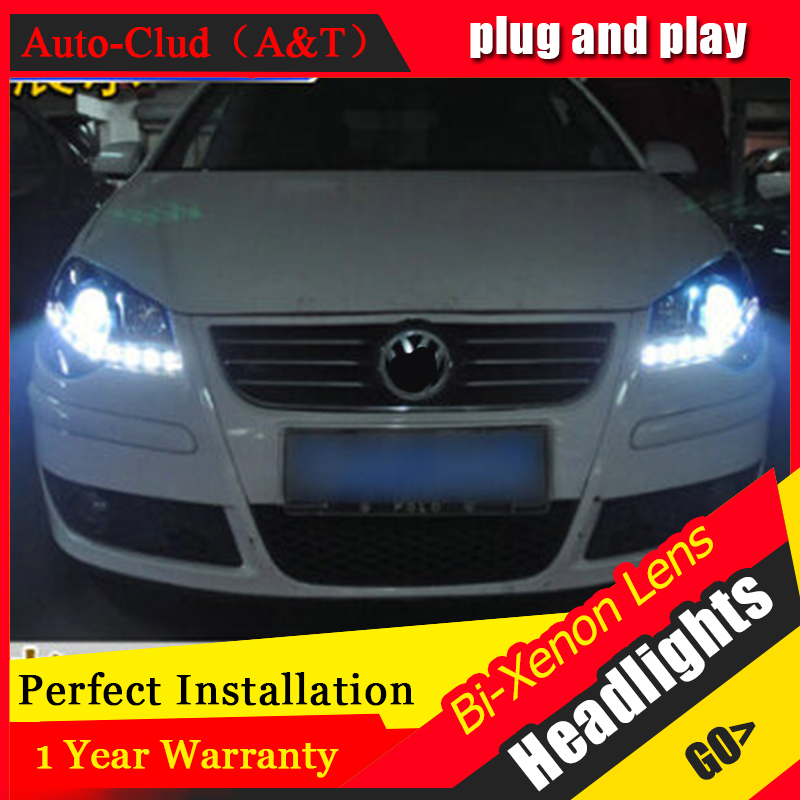 Auto Clud vw polo headlights 2006 2010 models car styling LED car styling xenon lens car light led bar H7 led parking