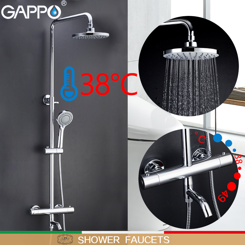 GAPPO Bathtub Faucets Shower Faucet Thermostatic Bathroom Shower Mixer Bath Faucet Wall Mounted Rainfall Shower Set Mixer Tap