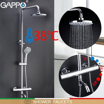 GAPPO bateria łazienkowa bateria natryskowa termostatyczna łazienka bateria natryskowa kran do wanny naścienny zestaw prysznicowy z deszczownicą tanie i dobre opinie Galwaniczne Termostatyczne baterie Auto-termostatu Współczesna G2491 Podwójny uchwyt ceramic thermostatic mixing valve