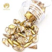 Новое поступление золотой Шампань точечное стекло Кристалл Стразы не для горячей фиксации для ногтей Смешанная Форма смешанный размер 20 шт...
