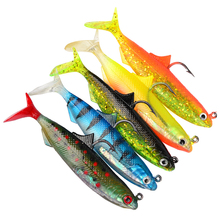 5pcs/Lot 10.5cm 21g  Soft Boot Tail Fishing Lure Jig Head Swimbait Lead Fish Bait Pike Muskie Winter Ice