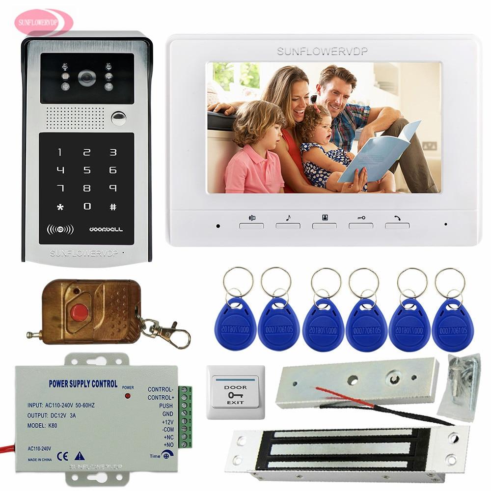 "Video Intercom with Magnetic Door Lock 7"" Color Monitor Camera Password Unlock Door Phone System IP55 Waterproof System Unit Kit"