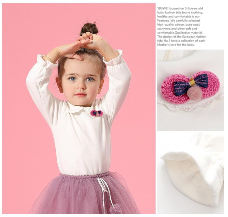 HTB1Px0sSpXXXXcFXFXXq6xXFXXXx - Spring and Autumn Baby Girls White Sweatshirt Long-sleeve Blouse for Girl to School in 1-5 Years Kids Clothes with 3D Bow Brand