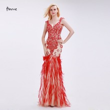 Finove Mermaid Evening Dresses with Tassel 2018 New Styles Sexy Big V Neck Backless Long Formal