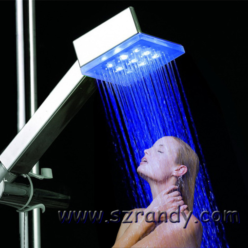Lanbo New Handheld Home Bath 7Color Romantic LED Light Water Bathroom Glow Shower Head Temperature Sensor ShowerHead Sprinkler