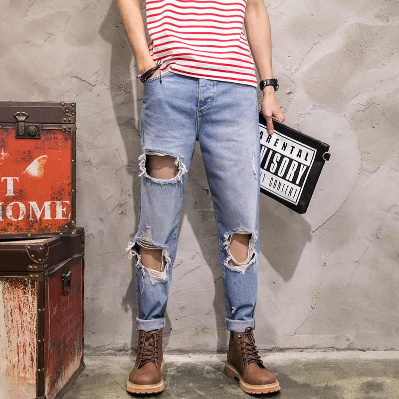 Fashion trend male big broken hole distressed denim trousers personality ripped loose casual ankle length jeans