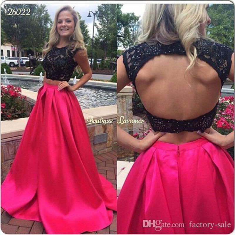 8a1c3e32f9d Black Peach Pink Prom Dresses 2017 Two Pieces Hollow Back Skirt with Pocket  Floor Length Evening Party Dresses Long 5191533